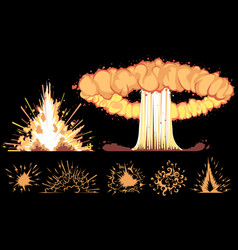 explosions on a black background vector image