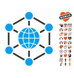 Global web icon with dating bonus vector