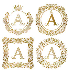 Golden letter a vintage monograms set heraldic vector