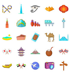 Guided tour icons set cartoon style vector