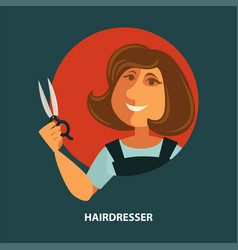 Hairdresser woman with scissors flat poster vector