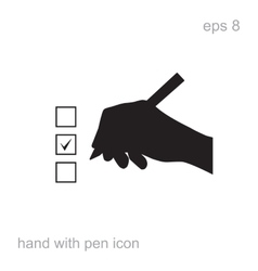 Hand writing simple black icon vector
