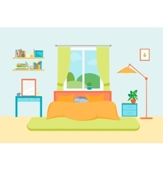 Interior classic bedroom with furniture and window vector
