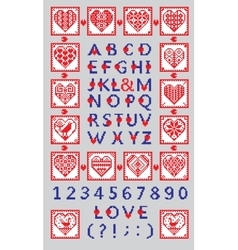 Love alphabet and numbers in the ethnic style vector