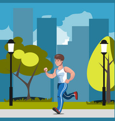 man runs in park vector image vector image