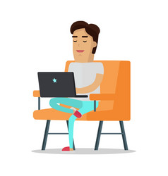 man with laptop on sofa vector image
