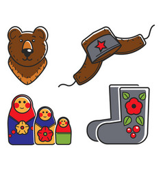 russian traditional national symbols isolated vector image