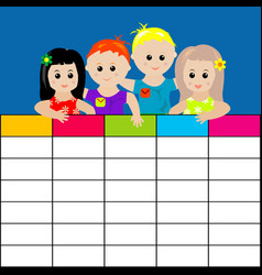 School timetable with kids vector