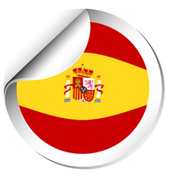 Spain flag on round badge vector