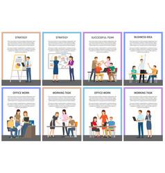 Straregy business idea office team work cards vector