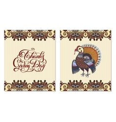 Thanks Giving Day decorative greeting card with vector image