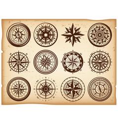 Vintage nautical compasses icons set vector