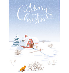 Winter landscape christmas card vector