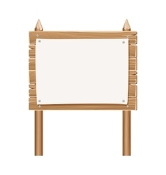 Wooden blank sign board with paper isolated on vector image vector image