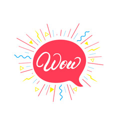 Wow hand written lettering background vector