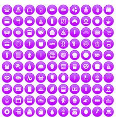 100 bakery icons set purple vector