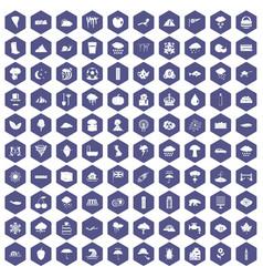 100 rain icons hexagon purple vector