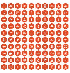 100 water icons hexagon orange vector