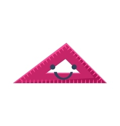 Triangle ruler primitive icon with smiley face vector
