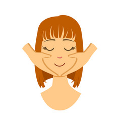 Woman getting a face massage colorful cartoon vector