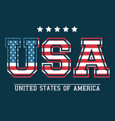 Usa lettering united states of america flag design vector
