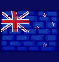 New zealand flag painted on brickwall vector