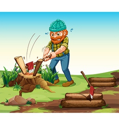A lumberjack chopping woods vector image