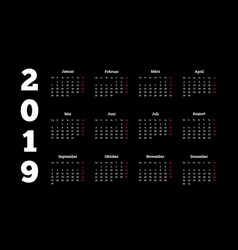 2019 year simple white calendar on german language vector