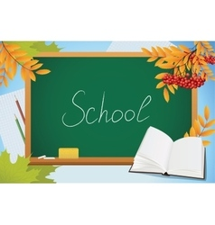School autumn background with blackboard book and vector