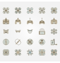 Drone flat icons set vector