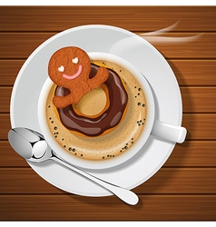 Gingerbread with doughnut in cup of hot coffee vector