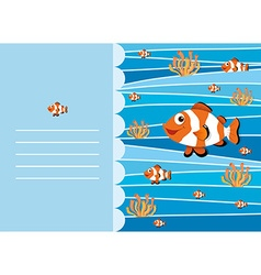 Paper design with clownfish swimming vector image