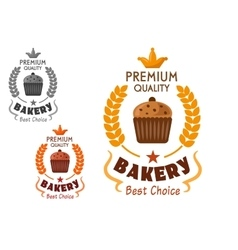Bakery emblem with cupcake and wheat vector