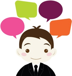 Cute Businessman with Colorful Blank Speech Bubble vector image