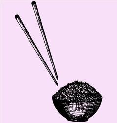 bowl rice chopstick vector image