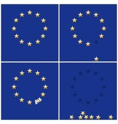 European union ring stars on blue flag background vector