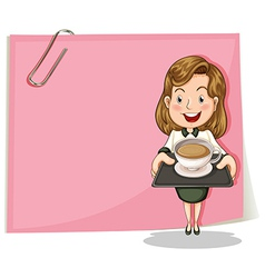 A girl with a tray standing in front of the pink vector image vector image