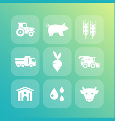 Agriculture farming icons set vector