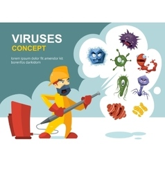 Anti germs microbes sanitation concept vector