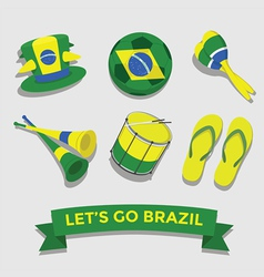 Brazil icon for cheering fan set vector image vector image