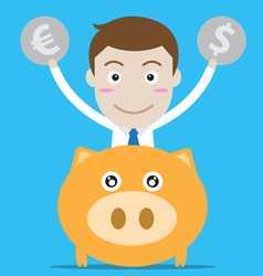 Businessman with piggy bank vector