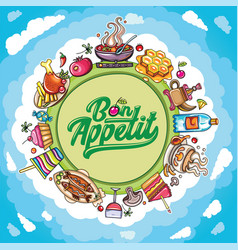Cartoon frame food and drink planet with vector