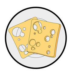 cheese slices icon vector image vector image