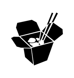 Chinese noodle in box icon simple style vector