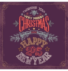 Christmas and New Year hand-lettering vector image