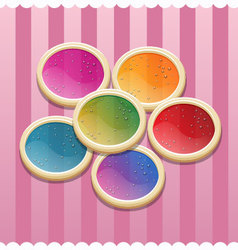 Circle cookies for valentine day vector image