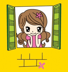 cute girl on window vector image vector image