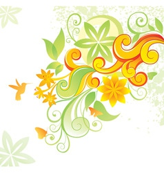 floral background with colibri vector image vector image