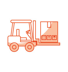 Forklift vehicle with boxes vector