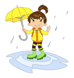 Girl in raining with umbrella vector